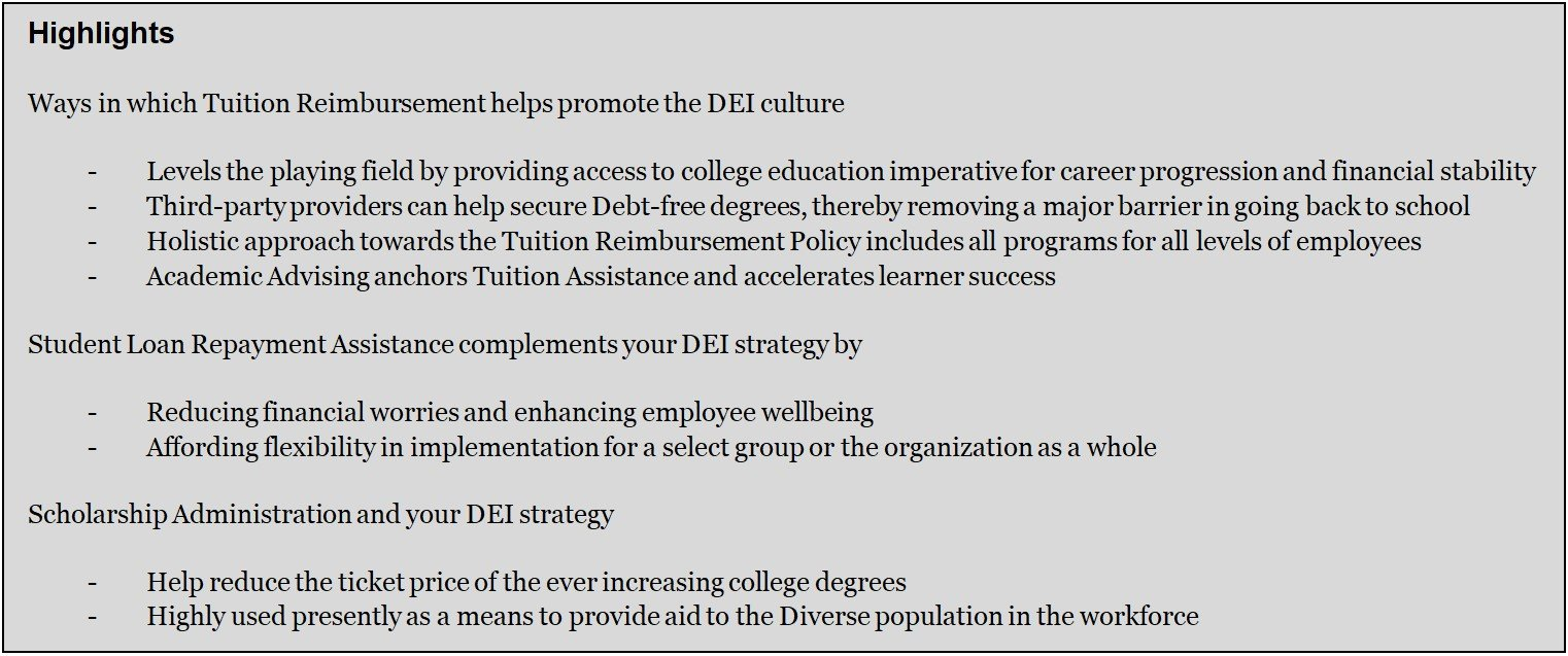 Benefits of Education Benefits as a part of the DEI strategy